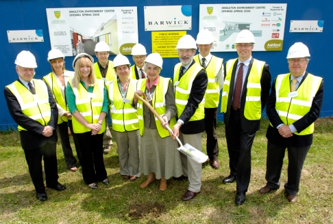 Rita Hawes Mayor of Ashford with Richard King, KCC and other dignatories after the sod turning ceremony at the new Singleton Environmental Centre, Cuckoo Lane, Ashford, Kent, 5th June 2007.