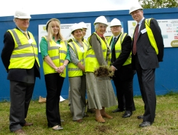 Rita Hawes Mayor of Ashford with Richard King, KCC and other dignatories at the sod turning ceremony at the new Singleton Environmental Centre, Cuckoo Lane, Ashford, Kent, 5th June 2007.