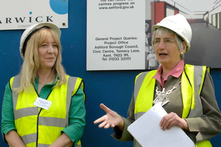 Rita Hawes Mayor of Ashford with Jenny Tippen, Ashford Community Woodlands at the sod turning ceremony at the new Singleton Environmental Centre, Cuckoo Lane, Ashford, Kent, 5th June 2007.