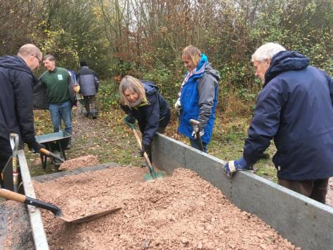 Laying Type 1 stone with volunteers from KSCP, 28 November 2018.